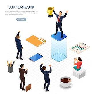 Biznesowa praca zespołowa świętuje zwycięstwo z ilustracją złotej nagrody