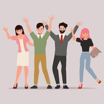 Biznesowa praca zespołowa z kobietami i mężczyznami