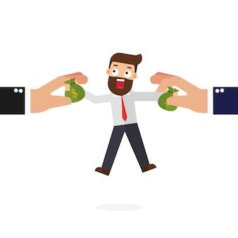 Biznesowa ręka chwyta pieniądze torbę