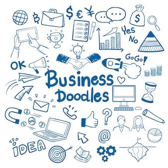 Biznesowa ręka rysujący doodles tła wektor