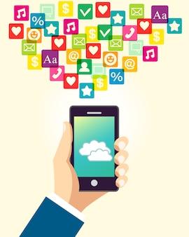Biznesowa ręka używać smartphone