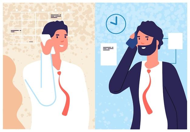Biznesowa rozmowa telefoniczna. mówiący mężczyźni, call center i menedżerowie. informacje telefoniczne, mobilne konsultacje dla klienta. ilustracja męskiego dialogu. rozmowa biznesowa, pracownik biurowy i szef