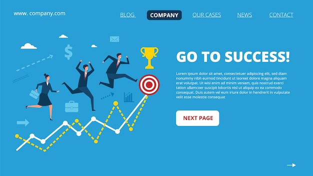 Biznesowa strona docelowa. postacie ludzi sukcesu. różne narody biegające do szablonu strony internetowej z dużym celem.