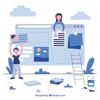 Biznesowa strona docelowa w płaskiej konstrukcji
