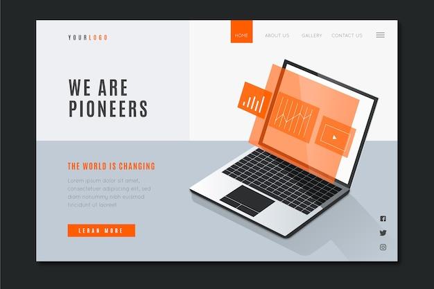 Biznesowa strona docelowa z laptopem