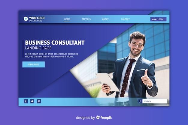 Biznesowa strona docelowa ze zdjęciem i miejscem do kopiowania