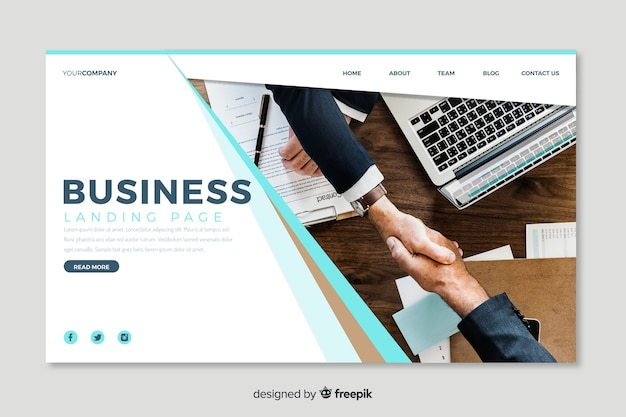 Biznesowa strona docelowa ze zdjęciem
