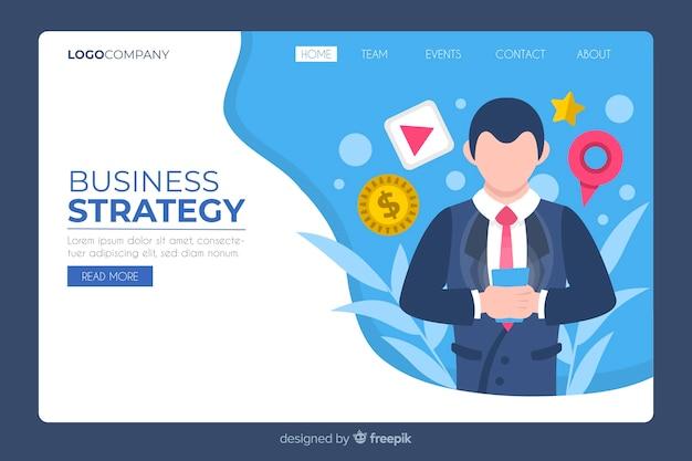 Biznesowa strona główna z mężczyzna na telefonie ilustrującym