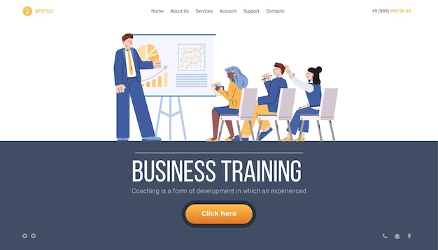 Biznesowa strona szkoleniowa z grupą ludzi ilustracja wektorowa płaskiej kreskówki