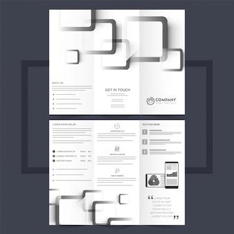 Biznesowa ulotka trójwarstwowa lub projekt ulotki o szarych kształtach kwadratowych.