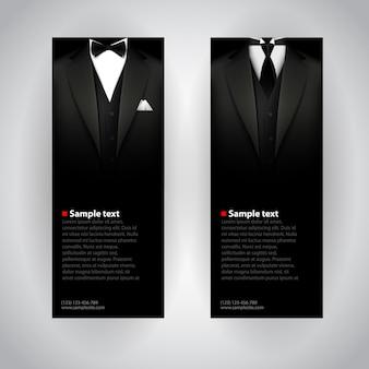 Biznesowa ulotka z eleganckim garniturem i smokiem.