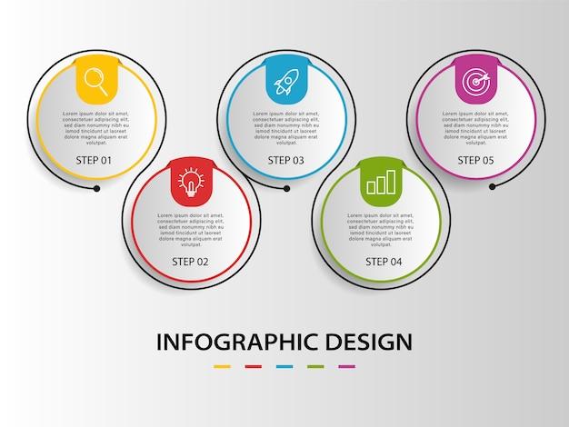 Biznesowa wektorowa projekt linii czasu infographic z czterema krokami