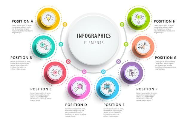 Biznesowe 8-stopniowe infografiki wykresu procesu z kręgami krok. okrągłe elementy graficzne firmy.