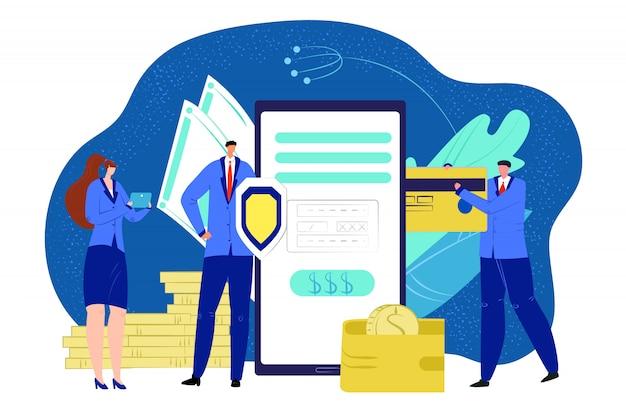 Biznesowe cyfrowe pieniądze online, ilustracja bankowości smartfona. dane karty kredytowej z koncepcją finansowania i płatnością mobilną. ludzie używają technologii bezpieczeństwa telefonu, elektronicznej.