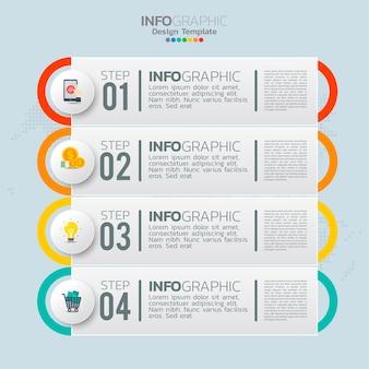 Biznesowe elementy infografiki z 4 opcjami lub krokami