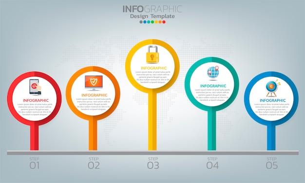 Biznesowe elementy infografiki z 5 opcjami lub krokami