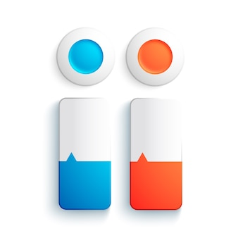 Biznesowe elementy sieci web zestaw z okrągłym i prostokątnym przyciskiem w kolorach niebieskim i czerwonym na białym tle