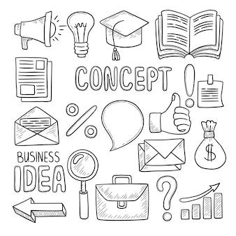 Biznesowe gryzmoły. narzędzia biurowe komputer pióra notatki smartfon notebook pc sprawa biznesowa pomysł kreatywne symbole wektor wyciągnąć rękę. biuro doodle, szkic notebooka, notatnik i pieniądze elementy ilustracji
