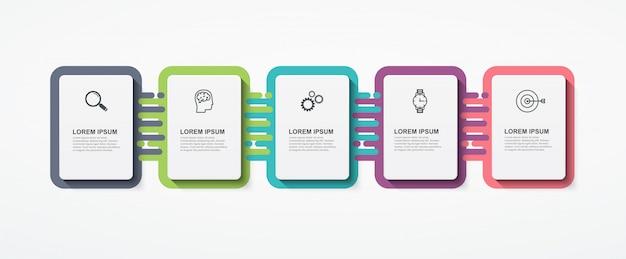 Biznesowe infografiki prostokątne elementy z 5 krokami opcji.