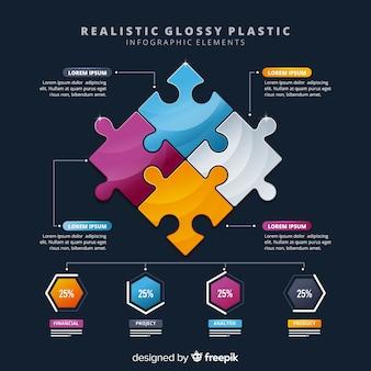 Biznesowe infogrealistyczne błyszczące elementy infographic z tworzywa sztucznego