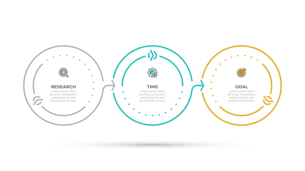 Biznesowe informacje graficzne koncepcja koło linii czasu z ikonami i 3 opcjami