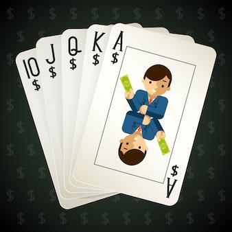 Biznesowe karty do gry w pokera królewskiego. ulica i kombinacja oraz poker.
