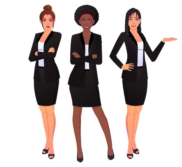 Biznesowe kobiety ubrane w czarne garnitury w akcji stanowią kaukaskie, azjatyckie i czarne