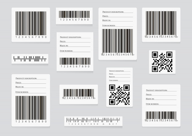 Biznesowe kody kreskowe i kody qr wektor zestaw