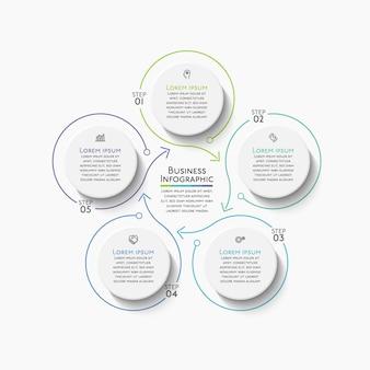 Biznesowe koło osi czasu ikony infografiki zaprojektowane dla abstrakcyjnego szablonu tła