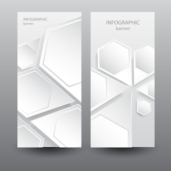 Biznesowe lekkie pionowe banery z sześciokątnymi elementami abstrakcyjnymi sieci web