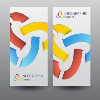 Biznesowe pionowe banery z kolorowymi elementami wstążki