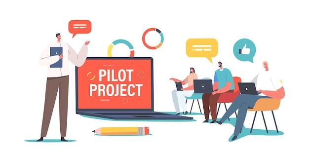 Biznesowe postacie omawiające projekt pilotażowy na spotkaniu grupy fokusowej w sali konferencyjnej. pracownicy przy stole negocjacyjnym pracują razem podczas briefingu w biurze firmy. ilustracja wektorowa kreskówka ludzie