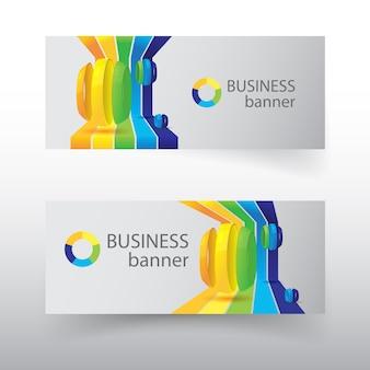 Biznesowe poziome bannery z kolorowymi zakrzywionymi liniami i cięte kule na białym tle