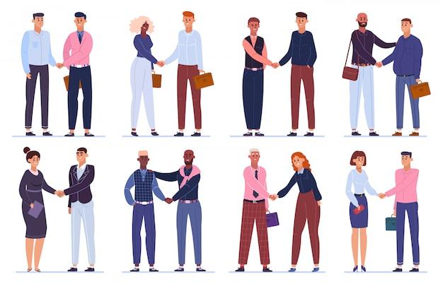 Biznesowe ręce się trzęsą. pracownicy biurowi uścisk dłoni, umowa biznesowa lub umowa kompletna, zestaw ilustracji powitania uścisku dłoni. zespół spotkań biznesowych, sukces profesjonalnej firmy