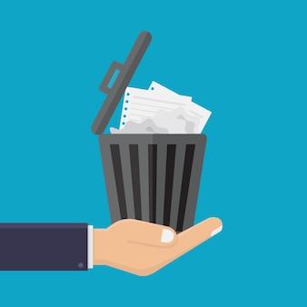 Biznesowe ręki trzymają kubeł na śmieci wektoru ilustrację