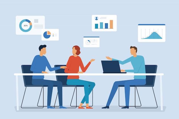 Biznesowe spotkanie zespołu finansowego i pracy z koncepcją wykresu raportu