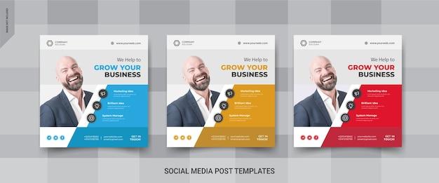 Biznesowe szablony postów w mediach społecznościowych instagram