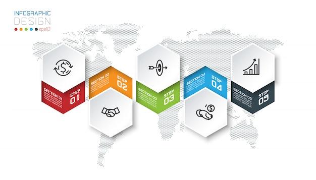 Biznesowe sześciokąta etykietki kształtują infographic grupa baru.