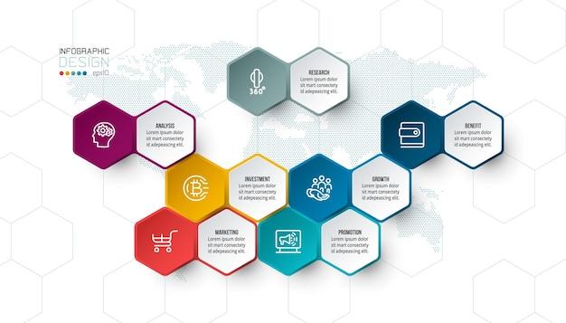 Biznesowe sześciokątne etykiety netto w kształcie paska infografiki.