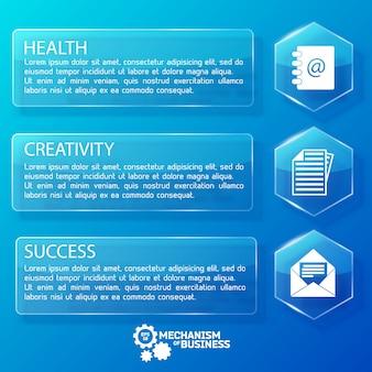 Biznesowe szklane banery poziome z sześciokątami tekstowymi i białymi ikonami na niebieskiej ilustracji