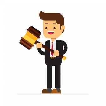 Biznesowego mężczyzna chwyt w rękach gavel sprawiedliwość