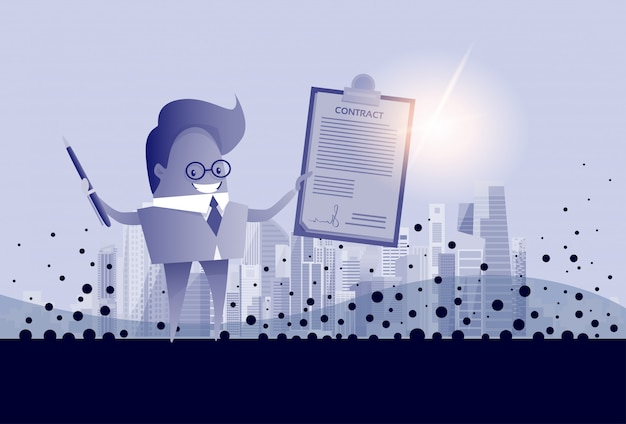 Biznesowego mężczyzna chwyta papieru dokumentu znaka kontrakta pojęcie