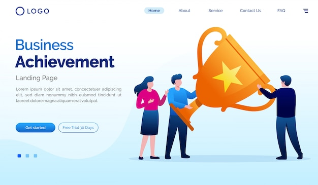 Biznesowego osiągnięcia strony docelowej strony internetowej ilustracyjny wektorowy szablon