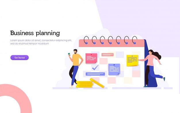 Biznesowej agendy spotkania ilustracyjny pojęcie, szczęśliwy mężczyzna i kobieta robi biznesowemu rozkładowi z kalendarzem