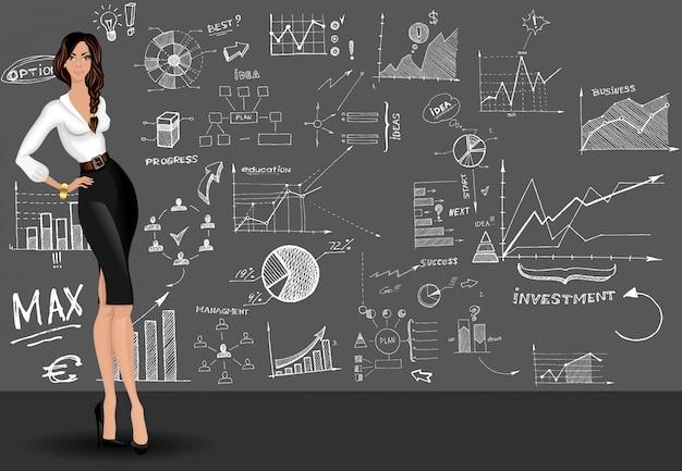 Biznesowej kobiety doodle tło