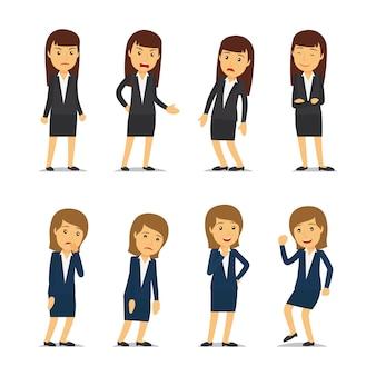 Biznesowej kobiety emocje i bizneswomanu różne pozy