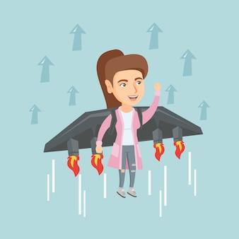 Biznesowej kobiety latanie na rakiecie sukces.