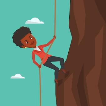 Biznesowej kobiety pięcie na górze.