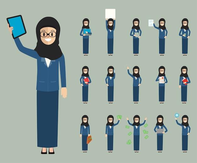 Biznesowi arabscy ludzie chracter w biurowej akcydensowej kolekci.