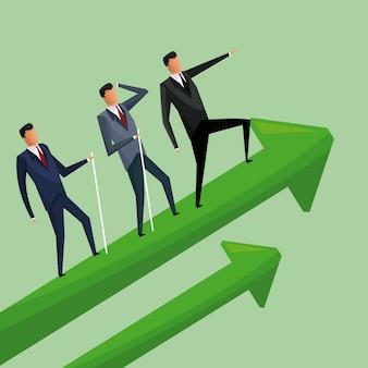 Biznesowi mężczyzna wspina się wzrostowych strzała współpracę